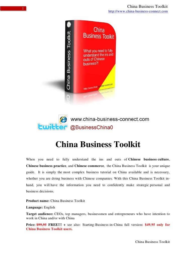 1                                                                   China Business Toolkit                                ...