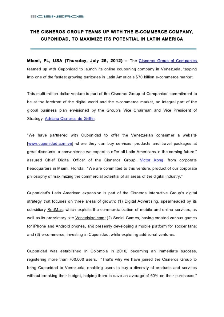 THE CISNEROS GROUP TEAMS UP WITH THE E-COMMERCE COMPANY,       CUPONIDAD, TO MAXIMIZE ITS POTENTIAL IN LATIN AMERICAMiami,...