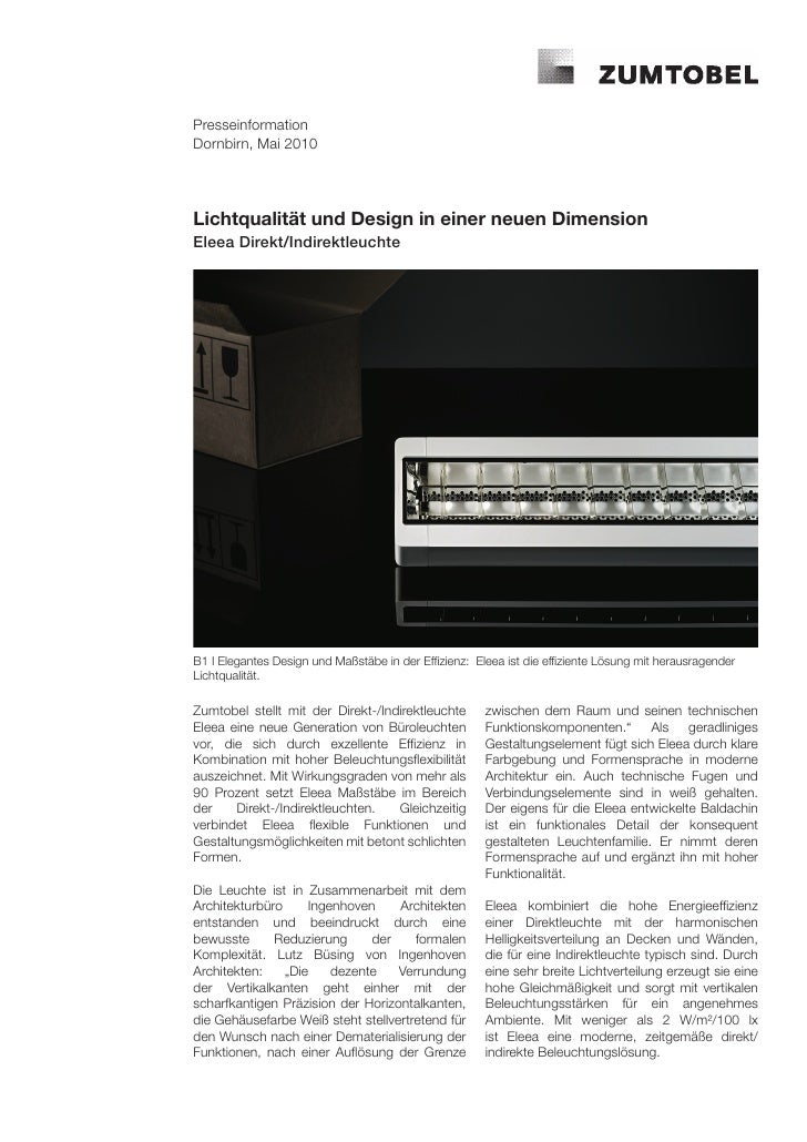 PresseinformationDornbirn, Mai 2010Lichtqualität und Design in einer neuen DimensionEleea Direkt/IndirektleuchteB1 I Elega...