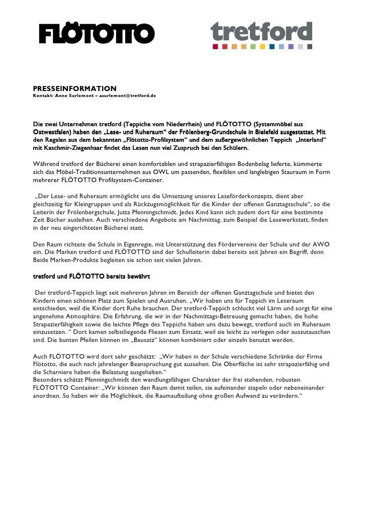 PRESSEINFORMATIONKontakt: Anne Surlemont – asurlemont@tretford.deDie zwei Unternehmen tretford (Teppiche vom Niederrhein) ...