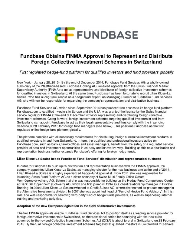 Fundbase Obtains FINMA Approval to Represent and Distribute Foreign Collective Investment Schemes in Switzerland First reg...