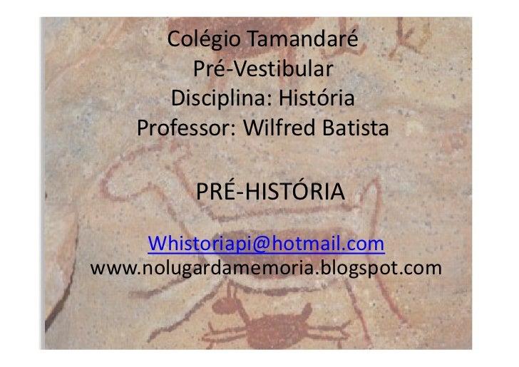 Colégio Tamandaré         Pré-Vestibular       Disciplina: História    Professor: Wilfred Batista          PRÉ-HISTÓRIA   ...