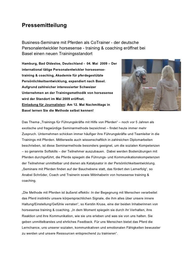 PressemitteilungBusiness-Seminare mit Pferden als CoTrainer - der deutschePersonalentwickler horsesense - training & coach...