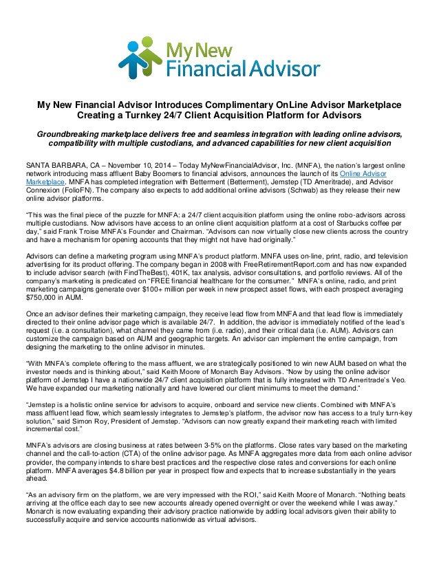 My New Financial Advisor Introduces Complimentary OnLine Advisor Mark…