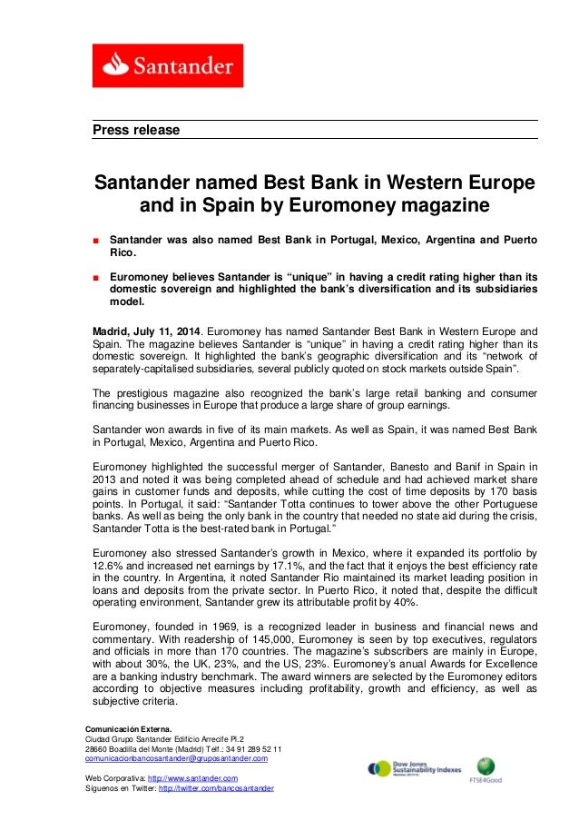 Santander named Best Bank in Western Europe and in Spain by
