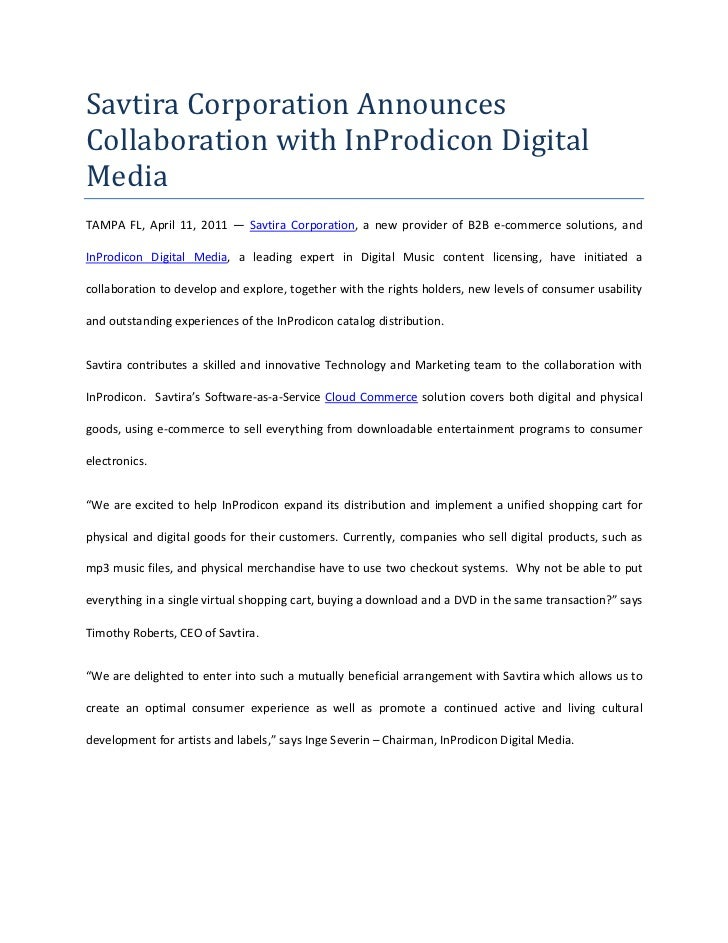 Savtira Corporation Announces Collaboration with InProdicon Digital Media<br />TAMPA FL, April 11, 2011 — Savtira Corporat...