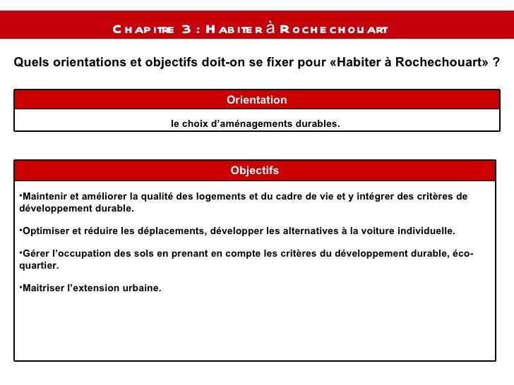 Quels orientations et objectifs doit-on se fixer pour « Habiter à Rochechouart » ? Chapitre 3 : Habiter à Rochechouart  le...