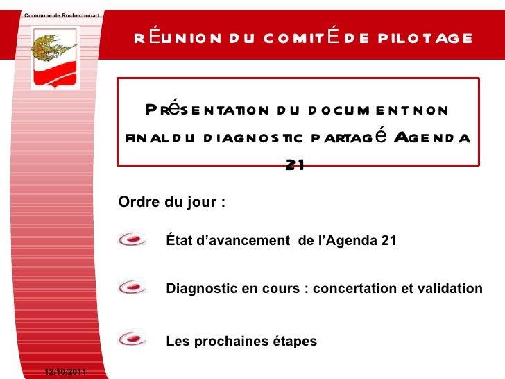 RÉUNION DU COMITÉ DE PILOTAGE   Commune de Rochechouart Présentation du document non final du diagnostic partagé Agenda 21...