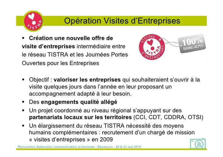 Opération Visites d'Entreprises    Création une nouvelle offre de   visite d'entreprises intermédiaire entre   le réseau ...
