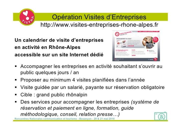 Opération Visites d'Entreprises                    http://www.visites-entreprises-rhone-alpes.fr  Un calendrier de visite ...