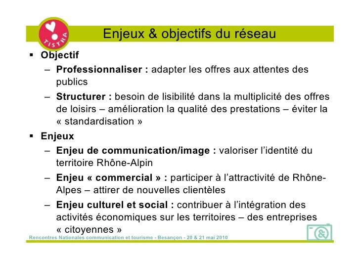 Enjeux & objectifs du réseau  Objectif    – Professionnaliser : adapter les offres aux attentes des      publics    – Str...