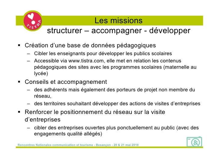 Les missions                   structurer – accompagner - développer  Création d'une base de données pédagogiques      – ...