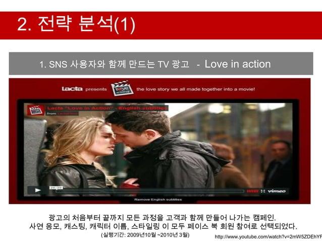 2. 전략 분석(1)  1. SNS 사용자와 함께 만드는 TV 광고 - Love in action    광고의 처음부터 끝까지 모든 과정을 고객과 함께 만들어 나가는 캠페인. 사연 응모, 캐스팅, 캐릭터 이름, 스타일링...