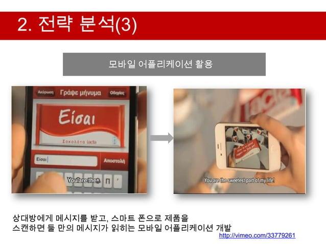 2. 전략 분석(3)              모바일 어플리케이션 활용                  2. 전략 분석상대방에게 메시지를 받고, 스마트 폰으로 제품을스캔하면 둘 만의 메시지가 읽히는 모바일 어플리케이션 개발...