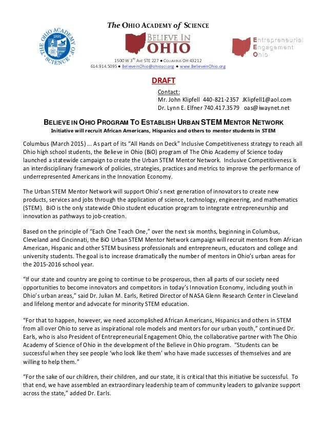 stem mentor network believe in ohio