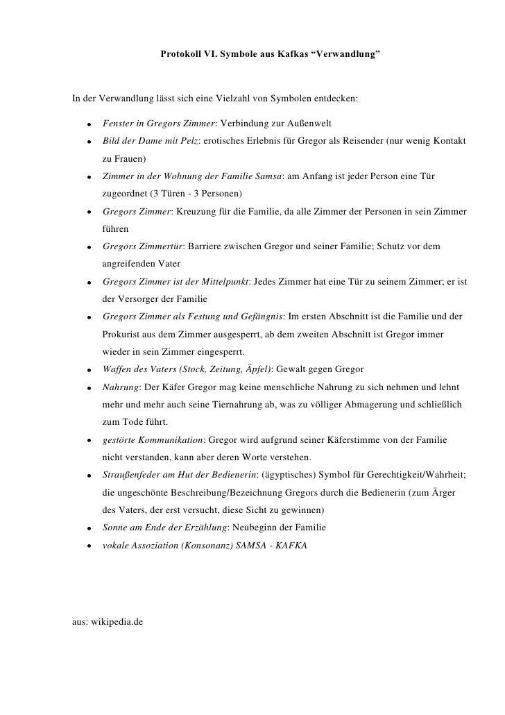 """Protokoll VI. Symbole aus Kafkas """"Verwandlung""""<br />In der Verwandlung lässt sich eine Vielzahl von Symbolen entdecken:<br..."""