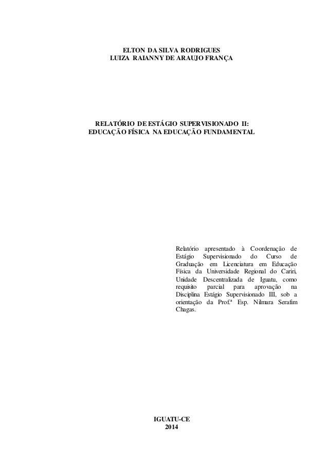 Relatório De Regências Ensino Fundamental