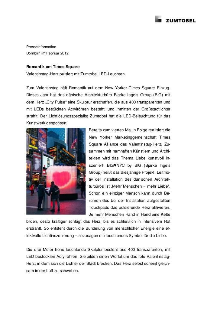 PresseinformationDornbirn im Februar 2012Romantik am Times SquareValentinstag-Herz pulsiert mit Zumtobel LED-LeuchtenZum V...