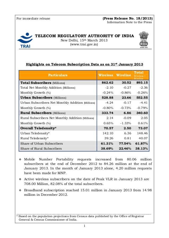 For immediate release                                       (Press Release No. 18/2013)                                   ...