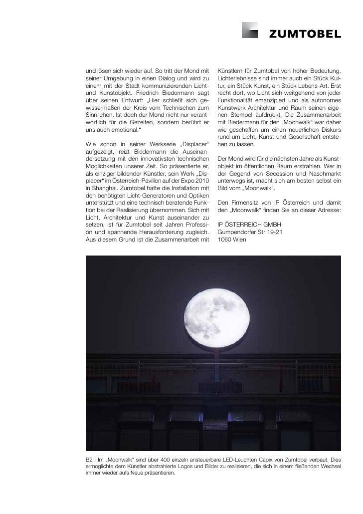 und lösen sich wieder auf. So tritt der Mond mit       Künstlern für Zumtobel von hoher Bedeutung.seiner Umgebung in einen...