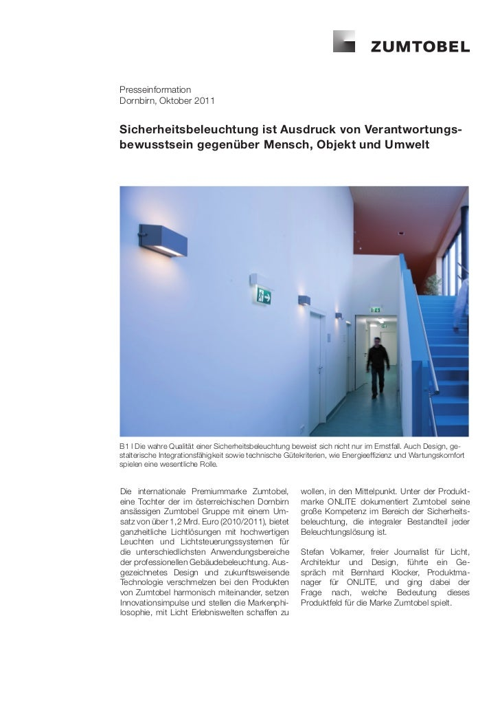 PresseinformationDornbirn, Oktober 2011Sicherheitsbeleuchtung ist Ausdruck von Verantwortungs-bewusstsein gegenüber Mensch...