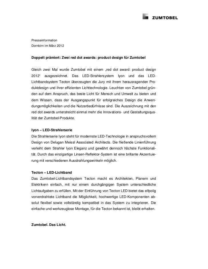 PresseinformationDornbirn im März 2012Doppelt prämiert: Zwei red dot awards: product design für ZumtobelGleich zwei Mal wu...