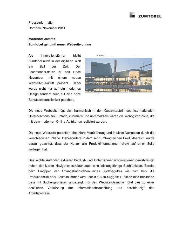 PresseinformationDornbirn, November 2011Moderner AuftrittZumtobel geht mit neuer Webseite onlineAls     Innovationsführer ...