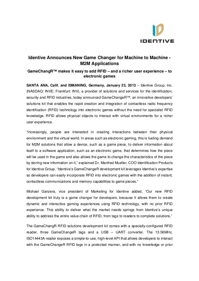 Identive Announces New Game Changer for Machine to Machine -                      M2M ApplicationsGameChangR™ makes it eas...