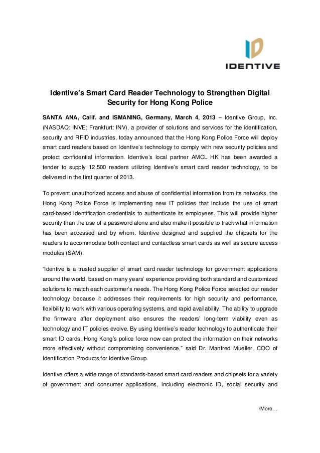 Identive's Smart Card Reader Technology to Strengthen Digital                   Security for Hong Kong PoliceSANTA ANA, Ca...
