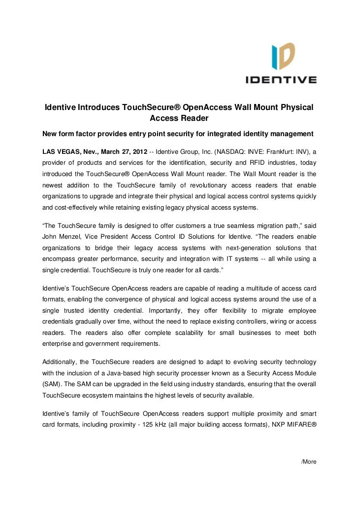 Identive Introduces TouchSecure® OpenAccess Wall Mount Physical                          Access ReaderNew form factor prov...