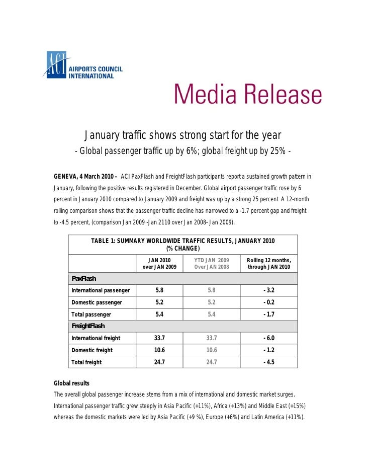 January traffic shows strong start for the year          - Global passenger traffic up by 6%; global freight up by 25% -  ...