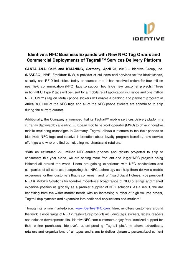 Identive's NFC Business Expands with New NFC Tag Orders andCommercial Deployments of Tagtrail™ Services Delivery PlatformS...