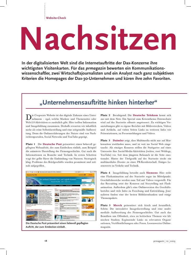 Website-Check     Nachsitzen In der digitalisierten Welt sind die Internetauftritte der Dax-Konzerne ihre wichtigsten Visi...