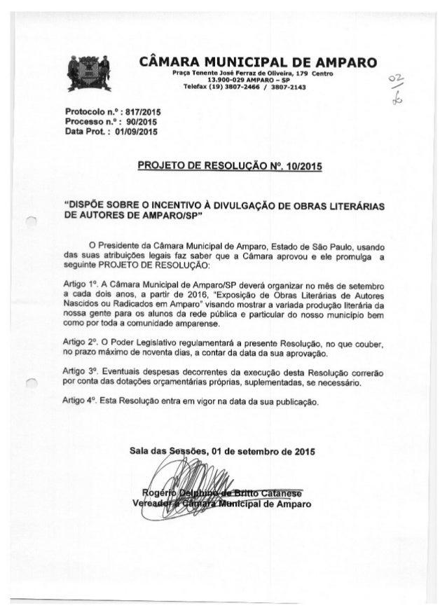 CAMARA rviurucIpAL DE AMPARO  Praça Tenenlze José Ferraz de Ollveira,  179 centro 133004329 AMPARO - sp Telefax (19) 3807-...