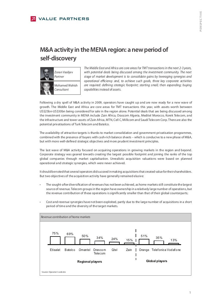 PERSPECTIVE M&A activity in the MENA region: a new period of self-discovery                                             Th...