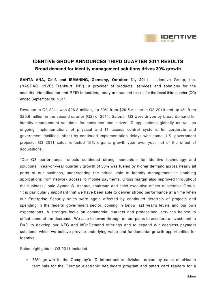 IDENTIVE GROUP ANNOUNCES THIRD QUARTER 2011 RESULTS        Broad demand for identity management solutions drives 30% growt...