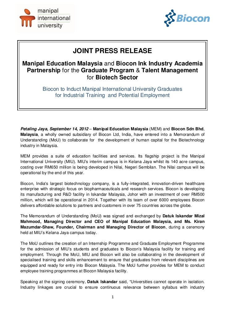 JOINT PRESS RELEASEManipal Education Malaysia and Biocon Ink Industry Academia Partnership for the Graduate Program & Tale...