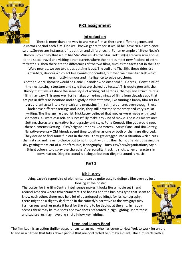 PR1 assignment Introduction There is more than one way to analyse a film as there are different genres and directors behin...