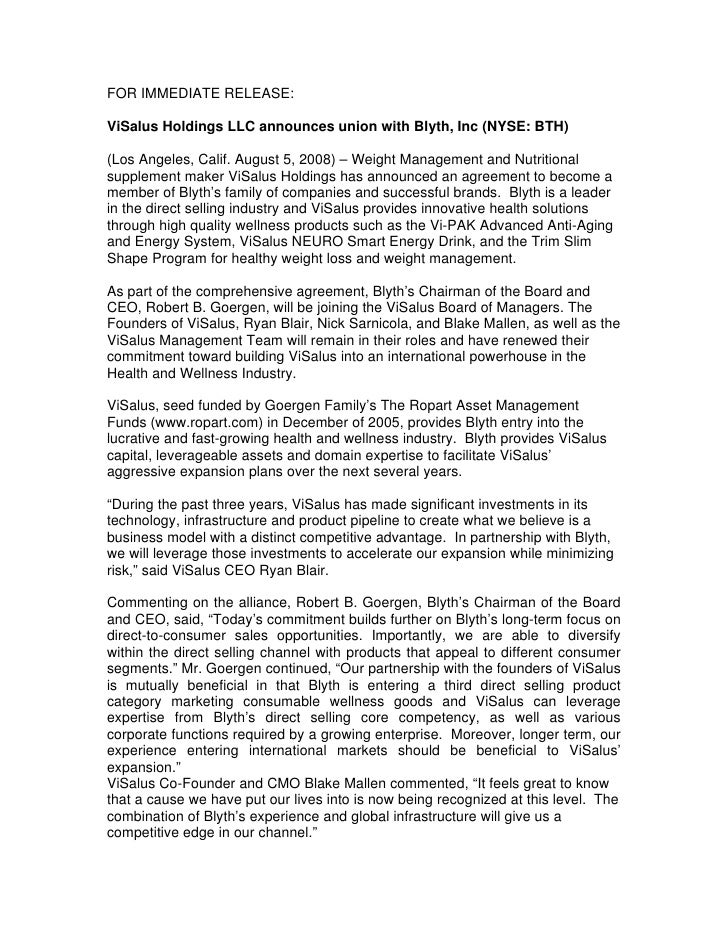 FOR IMMEDIATE RELEASE:  ViSalus Holdings LLC announces union with Blyth, Inc (NYSE: BTH)  (Los Angeles, Calif. August 5, 2...