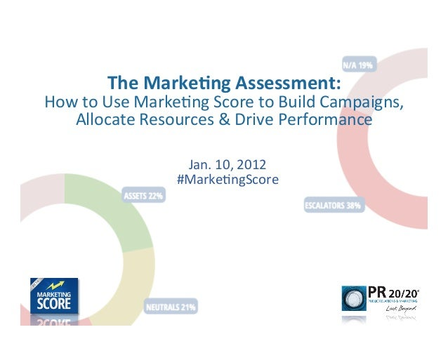 The	  Marke)ng	  Assessment:	  How	  to	  Use	  Marke-ng	  Score	  to	  Build	  Campaigns,	     Allocate	  Resources	  &	 ...