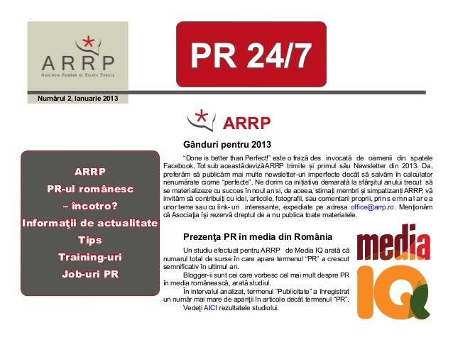 PR 24/7  Numărul 2, Ianuarie 2013                                                   ARRP                                 ...