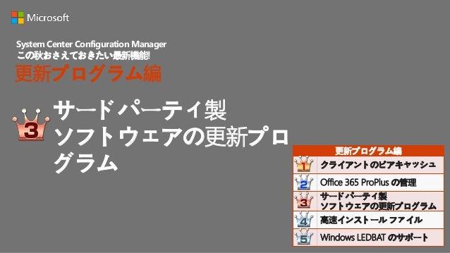 Office 365 ProPlus の管 理 System Center Configuration Manager この秋おさえておきたい最新機能! 更新プログラム編 更新プログラム編 クライアントのピアキャッシュ Office 365 P...