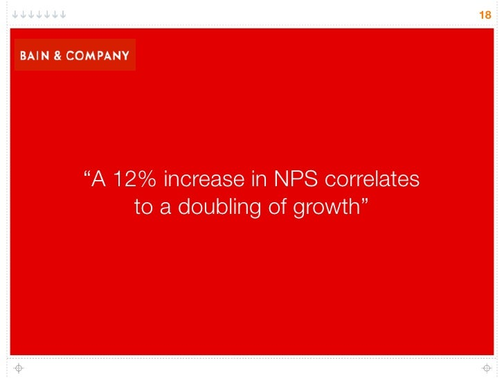 "18     ""A 12% increase in NPS correlates      to a doubling of growth"""