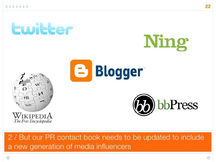 22     2 / But our PR contact book needs to be updated to include a new generation of media influencers
