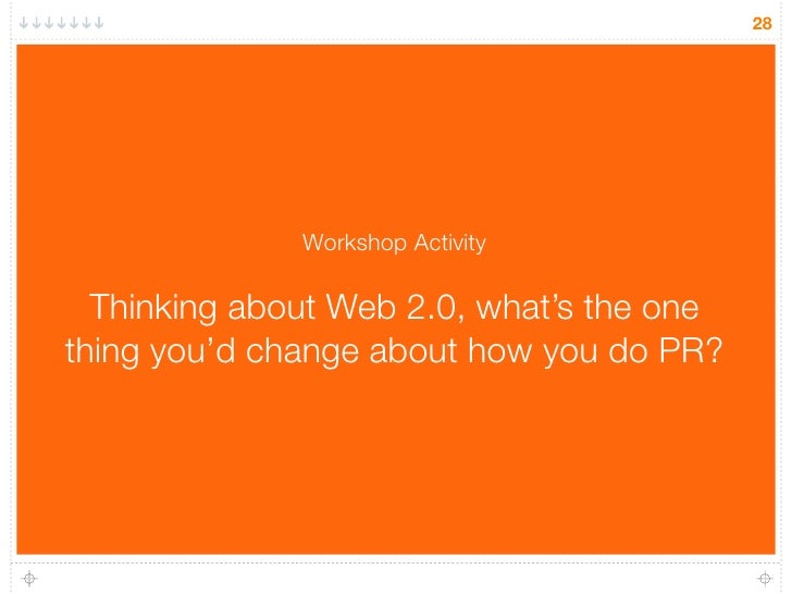28                   Workshop Activity    Thinking about Web 2.0, what's the one thing you'd change about how you do PR?