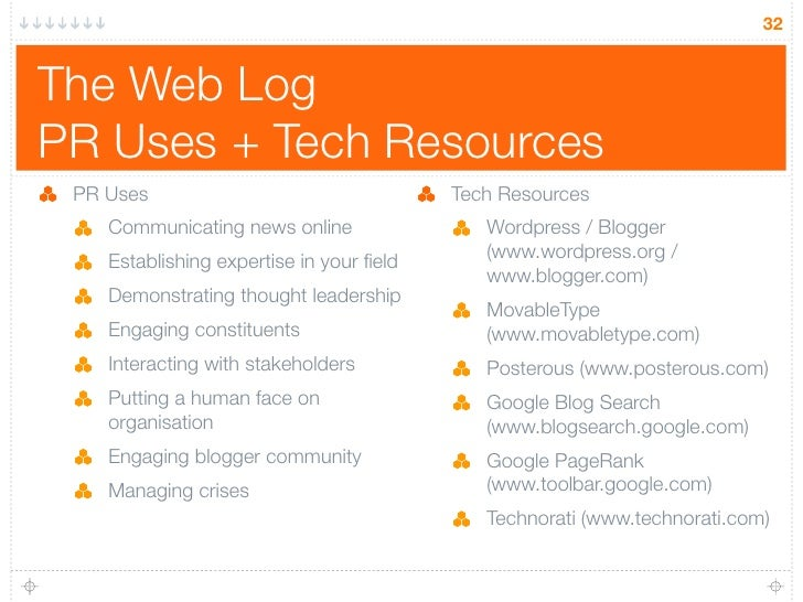 32   The Web Log PR Uses + Tech Resources  PR Uses                                  Tech Resources     Communicating news ...