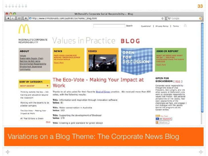 33     Variations on a Blog Theme: The Corporate News Blog