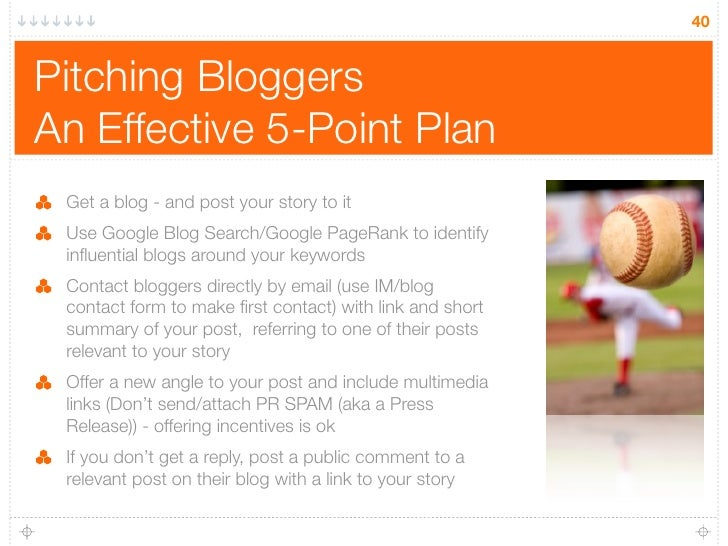 40   Pitching Bloggers An Effective 5-Point Plan  Get a blog - and post your story to it  Use Google Blog Search/Google Pa...