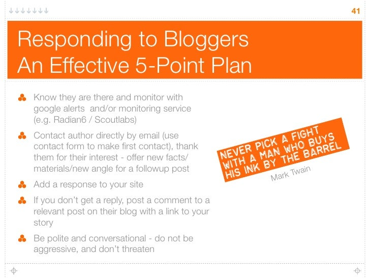 41   Responding to Bloggers An Effective 5-Point Plan  Know they are there and monitor with  google alerts and/or monitori...