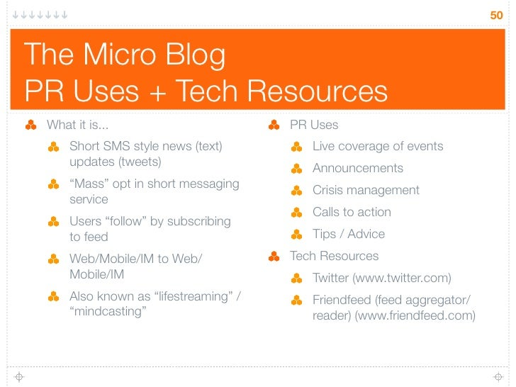 50   The Micro Blog PR Uses + Tech Resources  What it is...                         PR Uses      Short SMS style news (tex...